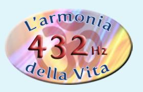 Logo 432 Hz NUOVO con Om sfondo azzurro